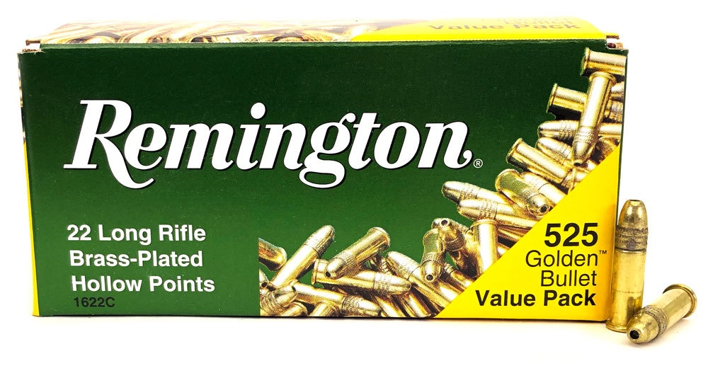 Remington 22 Long Rifle Brass Plated HP 525 Golden Bullet Value Pack